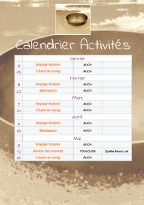 Calendrier des séances de Janvier à Mai 2020
